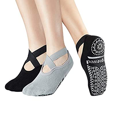 Yoga Pilate Barre Non Skid Anti Slip Socks Grip Socks with strap Sticky for women Ladies US 5-9 ,2 Pack
