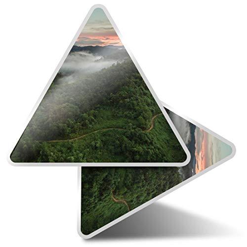 2 pegatinas triangulares de 10 cm - Borneo Jungle Landscape View Fun Calcomanías para ordenadores portátiles, tabletas, equipaje, reserva de chatarra, neveras #3128