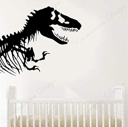 Dinosaurio Tyrannosaurus esqueleto calavera pegatina de pared vinilo decoración del hogar niños bebé habitación de bebé corte pared calcomanía transferencia Mural 49x42cm