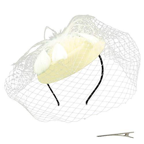 Umeepar Damen Pillbox Fascinator Hut Hochzeit Tea Party Hüte mit Federn Schleier Stirnband Clip (Beige)