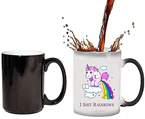 ZHOUYANG Cambio de Color de Calor Tazas, Taza de café del Arco Iris Taza de cerámica Taza/Pott para café, Sorpresa Regalo Hombres Mujeres (decoloración térmica)