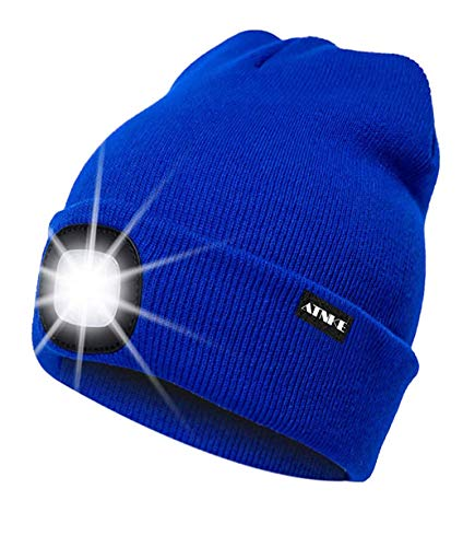 ATNKE LED beleuchtete Mütze, wiederaufladbare USB-Laufmütze mit extrem Heller 4-LED-Lampe und Blinkender Alarmscheinwerfer/Blau