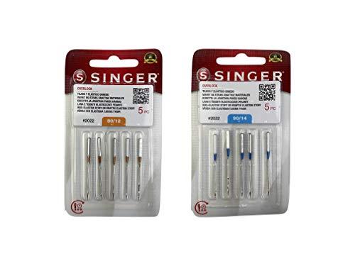 Pack de 10 Agujas Singer 2022 para Overlock Singer 14SH, 14CG y otras Grosores 80/12 y 90/12 ELx705 15x1