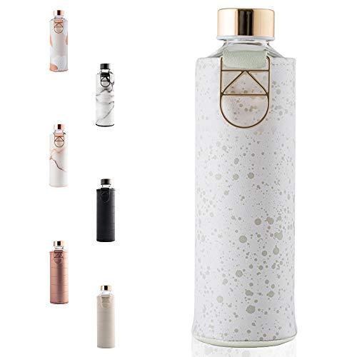 EQUA große Trinkflasche mit Kunstleder-Hülle 750 ml, aus Borosilikatglas, BPA-frei und Auslaufsicher.
