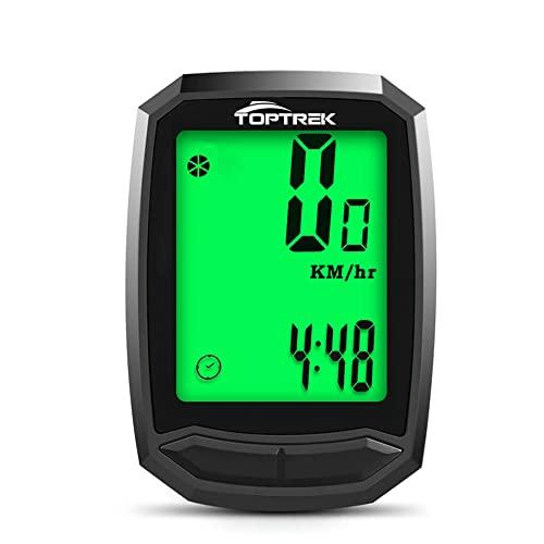 toptrek Fahrradcomputer Kabellos 13 Funktionen Fahrradtacho IPX7 wasserdichte Radcomputer LCD-Hintergrundbeleuchtung Kilometerzähler für Radsport Realtime Speed Track