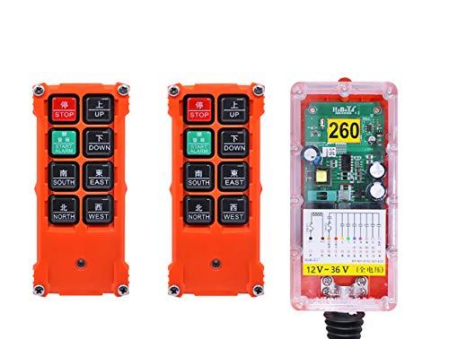 MXBAOHENG Controlador de grúa inalámbrico H21-E1C polipasto industrial 2 transmisores y 1 receptor (12-36V)