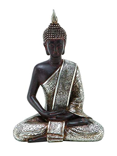 Bellaa 23293 Buddha Dhyana Mudra Meditating Sitting Blessing Statue Indoor Outdoor Garden Patio 8 inch (Silver)