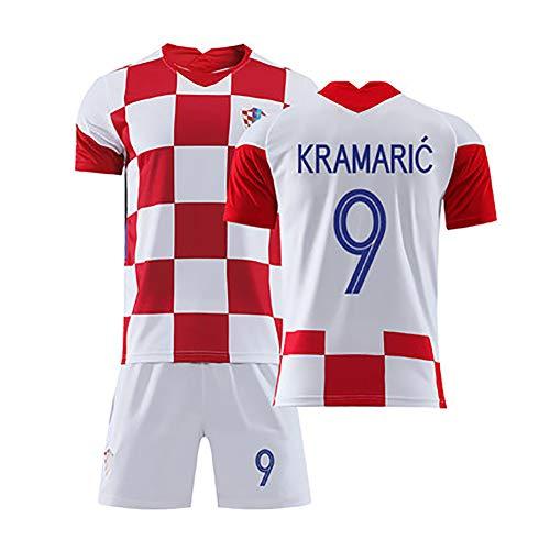 FUNBN Für Modric 10 Rakitic 7 Perisic 4 Kramaric 9 Mandzukic17, 2020 Kroatien Heimfußballuniformen, Männer- und Kinderfußballuniformen, können wiederholt gewaschen Werden-9#-18(100~110cm)