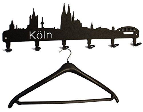 Wandgarderobe - Köln Skyline - Flurgarderobe - Garderobenhaken, Hakenleiste, Garderobenleiste, Garderobenhalter, Kleiderhaken, Garderobe - Metall 58 cm (schwarz) Flur