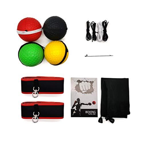 Boxtraining Ball, Boxing Reflex Ball mit 4 Bälle, Kampf Ball Reaktionsgeschwindigkeit Erhöhen für Boxtraining Zuhause und Draussen (mit 2 Stirnbändern)