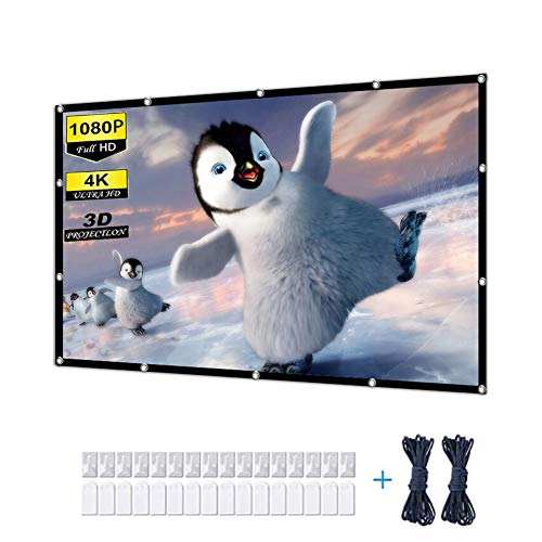 Video Projection Screens, 4K Projector Screen 100 inch Outdoor Movie Screen 16:9 Foldable and Portable Anti-Crease Indoor White Projector Screen for Home, Party, Office, Classroom