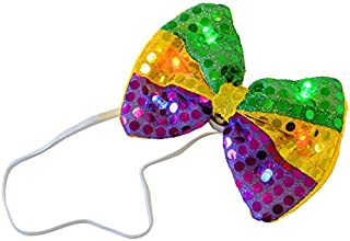 LED Light Up Flashing Sequin Bow Ties Tie - Various Colors by Mammoth Sales (Mardi Gras)