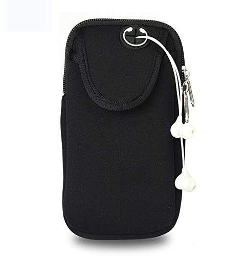 Keyihan Brazalete Deportivo Universal, Móviles Bandas para el Brazo Jogging Gimnasio Deportes Fitness Armband Funda para iPhone X/8/7/6/6S/5S/5C/SE/5 Plus,Samsung Galaxy Huawei HTC etc. (Negro)