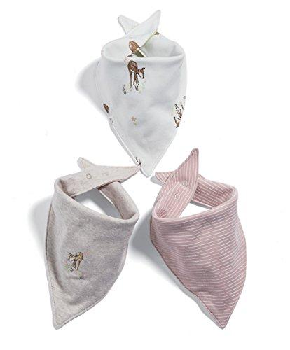 Mamas & Papas Baby-Mädchen Pack of 3 Deer Bandana Bibs Halstuch, Rose, One Size (3er Pack)