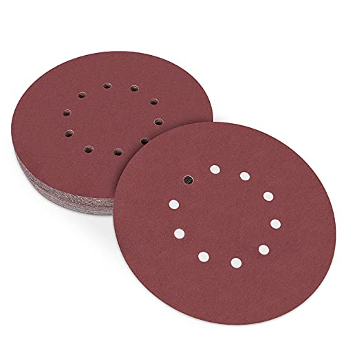 225mm Schleifscheiben, 25 Stück Klett Schleifpapier 80 Körnung für Trockenbauschleifer Exzenterschleifer 225mm, 10-Loch Schleifpads