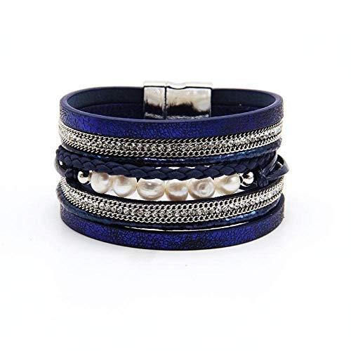 Armband sieraden Mode Vlecht Lederen Touw Armbanden Voor Vrouwen Legering Kettingsluiting Multilayer Wrap Parel Vrouwen Armband Armband Sieraden