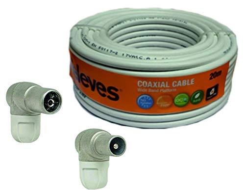 Kit Rollo Cable Televes de 20Mt 435501 + 6X Conectores Antena Televes (3 Macho+ 3 Hembra)