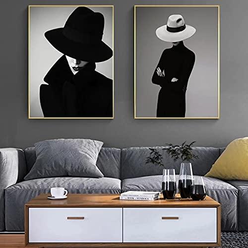 MECIKR Cuadro en Lienzo nórdico Negro Blanco Moda Mujer póster Impresiones Mujer Elegante con Sombrero Retrato Imagen decoración del hogar Arte de pared-40x60cmx2 sin Marco