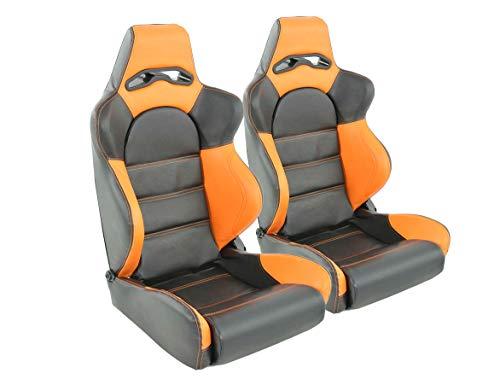 Par de asientos ergonómicos de rendimiento deportivo de carreras de cuero artificial negro/naranja