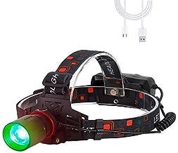 BESTSUN Led-hoofdlamp, oplaadbaar, groen licht, 1000 lumen, groene hoofdlampen, zoom, geschikt voor jagen, nachtzicht, cam...