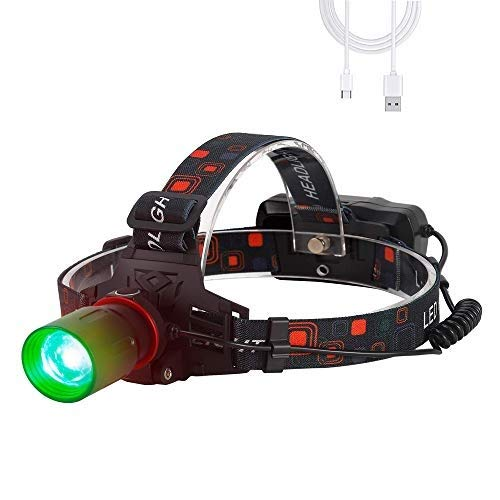 Linterna Frontal con luz verde, 1000 lumen linterna frontal recargable verde led Zoomable para caza, visión nocturna, camping (Solo verde)