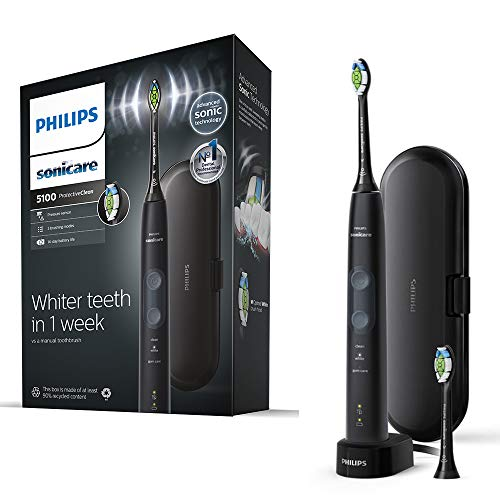 Philips Sonicare ProtectiveClean 5100 Electric Toothbrush, Black, with Travel Case, 3 x Cleaning Modes & 2 x Whitening Brush Head, (UK 2-pin Bathroom Plug) - HX6850/39