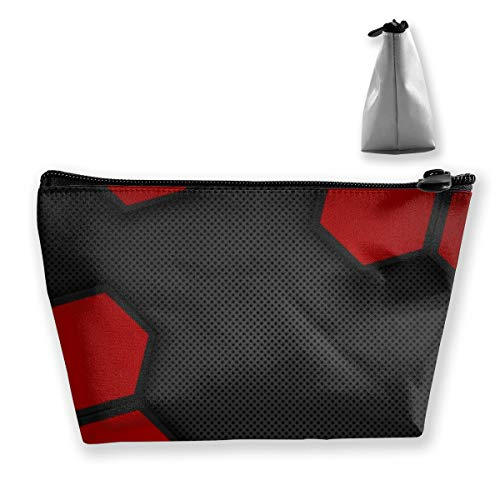 Trousse de maquillage hexagonale avec fond en métal Noir/rouge