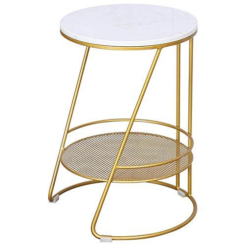 Tablas de café Sencilla mesa de centro redonda Mesa lateral de mármol de mesa de hierro forjado del material adecuado for el hogar de la sala Balcón Por habitaciones ( Color : Gold , Size : S )