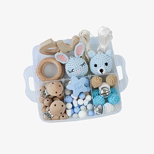 YZNlife Baby-Beißring DIY Zahnen Spielzeug, Kinderkrankheiten Spielzeug Perlen Beißring Holz Teethers, Greiflinge Zahnungshilfe Silikon Schnullerketten Baby-Backenzähne, inkl. Dummy Clips Kaninchen