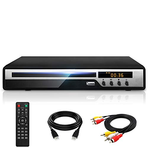 Ceihoit DVD Player for TV with HDMI AV Output, USB Input, HD1080P DVD CD Player, Built-in PAL NTSC System, All Region Free, HDMI/ AV Cable Included