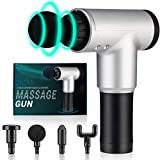 Massage Gun, Owlbbabies Professional Deep Tissue Percussion Massager for Pain Relief, Muscle Massage Gun for Athletes, Handheld Electric Back Massagers Gun for Gym Office Home, 6 Speed & 4 Heads