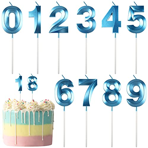 10 Pieces 3D Number 0-9 Birthday Candles for Birthday Cakes Blue Numeral Candles Big Glitter Cake Topper Decoration for Party, Wedding, Night Club, Kids, Adults