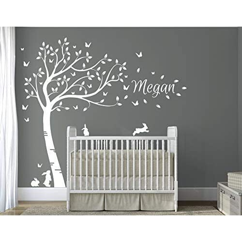 2c2392680fd2 DesignDivil's Personalised Name with Full Size Beautiful White Bunny  Rabbits Tree Nursery Room Wall Decal DD007