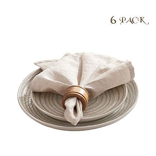 DAPU Servietten aus reinem Leinen 100% Französischer Flachs (Naturleinen, Servietten 45cm x 45cm)