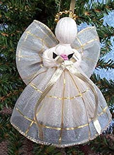 ChosenTreasures4You 2 Handmade Christmas Angels Victorian Gold Wired Ribbon Dress
