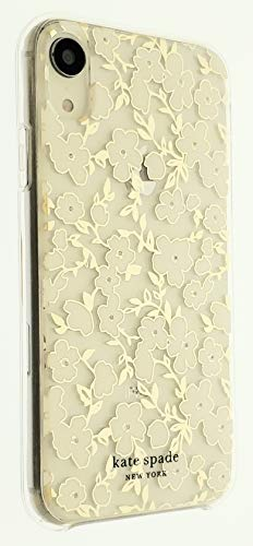 Kate Spade New York Phone Case for iPhone XR  Slim Protection Shockproof Protective Cover  White Flower Blossom with Gems  Clear/Gold