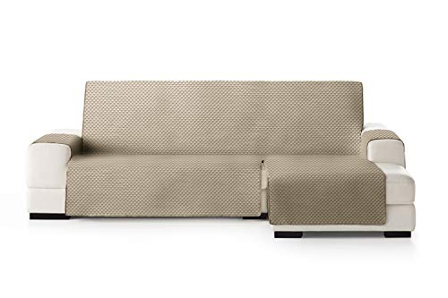 Eysa Oslo Funda, Poliéster, Visón/Crudo, Chaise Longue 240cm. Válido para sofá Desde 250 a 300cm