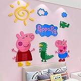 N\A Adhesivo decorativo para pared de espejo, diseño de Peppa Pig mural para decoración del hogar, habitación de los niños en 3D