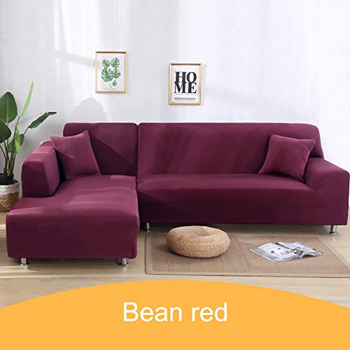 Stretch Sofa Cover Furniture,Hoes effen kleur hoekbank, 1 2 3 4-zits dierenhoes - 17-Bean_red_1-seater_90-140cm