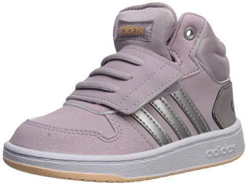 adidas Unisex-Baby Hoops MID 2.0 I Sneaker, Mauve/Matte Silver/Light Granite, 5K Standard US Width US Infant