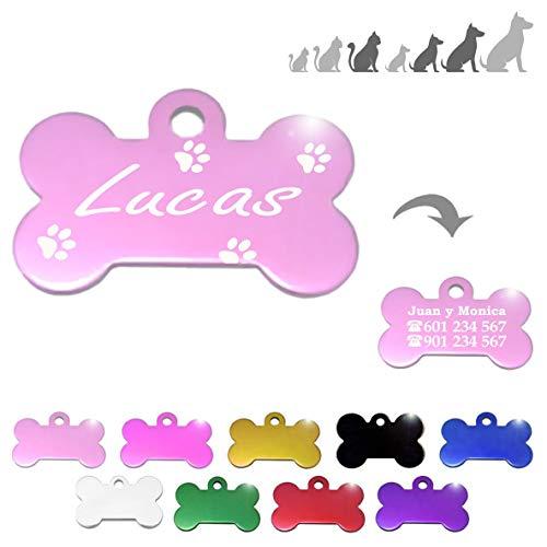 Iberiagifts - Hueso para Mascotas Medianas-Grandes con Patas Placa Chapa de identificación Personalizada para Collar Perro Gato Mascota grabada (Rosa)