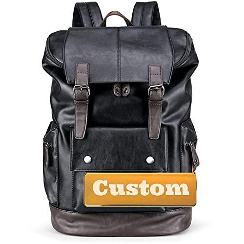 Nombre Personalizado Nylon Backpack Lightweight Travel Daypack para Mujer Negro portátil (Color : Black, Size : One Size)