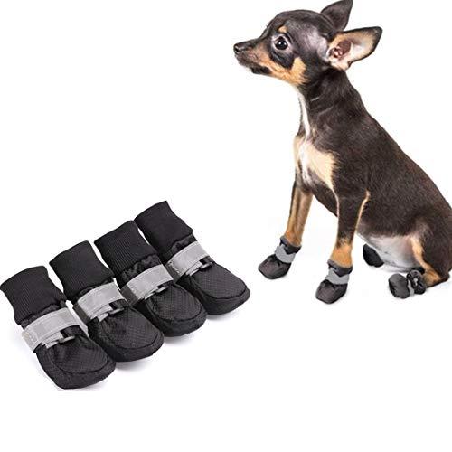 VICTORIE Hundeschuhe Pfotenschutz Hundestiefel wasserdicht mit Anti-Rutsch Sole für Haustier Mittlere und große Hunde schwarz 4 Stücke(XL: 8.0 X 7.0 cm)