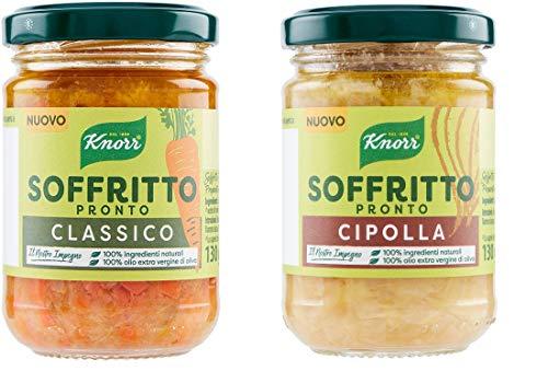 Testpaket Knorr Soffritto Classico Gemüsemischung + Soffritto Cipolla Zwiebelmischung mit nativem Olivenöl extra ( 2 x 130g ) Glas 100% Natürliche Zutaten