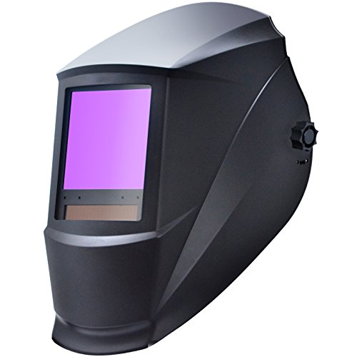 "Antra AH7-860-0000 Auto Darkening Welding Helmet Huge Viewing Size 3.86X3.5"" Wide Shade Range 4/5-13 Great for TIG MIG/MAG MMA Plasma, Grinding, Solar-Lithium Dual Power, 6+1 Extra lens covers"