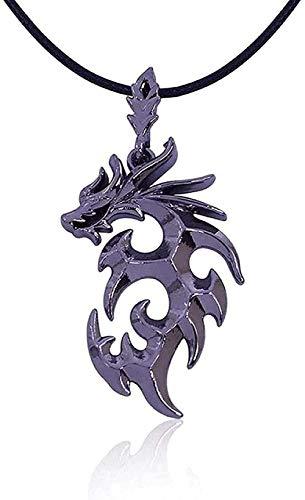 Collar Joyas Trendy Brave Man Flame Dragon Collar Domineering Men S Collares Pendientes-Black Gun Chapado En Collar Colgante para Mujeres Hombres