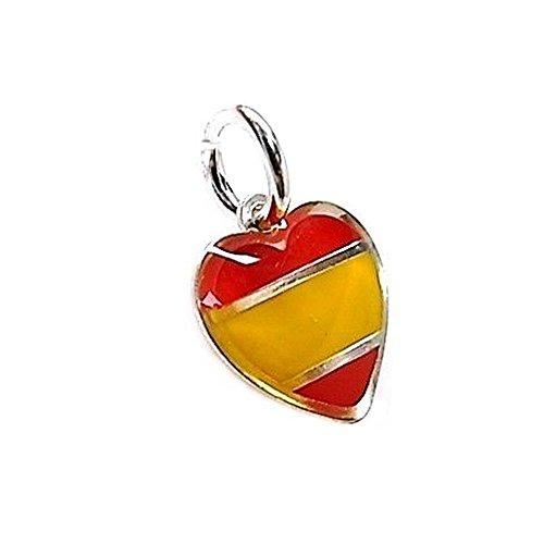 925m argento ciondolo cuore Legge smaltato bandiera Spagna [AB5485]