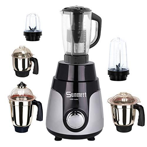 Sunmeet Black Silver Color 1000Watts Mixer Juicer Grinder with 6 Jar (2 Bullet Jar, 1 Juicer Jar...