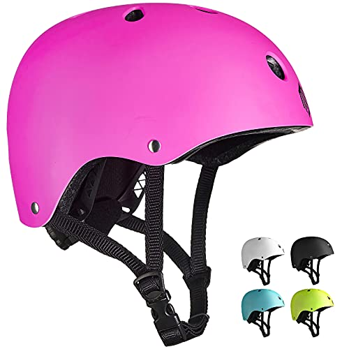 ILM Adults Skateboard Helmet Impact Resistance Ventilation for Skateboarding Scooter Outdoor Sports(Pink,L XL)