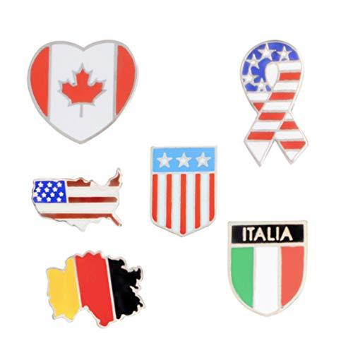 Amosfun 6 Stück Nationalflagge Anstecknadeln Brosche Pin Patriotische Emaille Anstecknadel für Männer Und Frauen